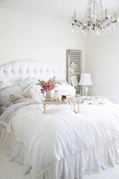 Dreaming of a white bedroom.of course, that means no kids/pets/etc. that's why this is my DREAM room*, shabby chic bedroom White Interior Design, Home Interior, Bathroom Interior, Interior Ideas, Sweet Home, White Rooms, Home Living, Living Rooms, White Decor