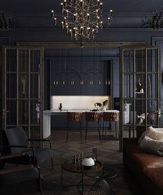 Black apartment in St. Petersburg, 75 m² on Behance Luxury Homes Interior, Interior Exterior, Interior Architecture, Large Room Layout, Dream Home Design, House Design, Casa Art Deco, Casa Clean, Black Interior Design