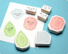Hand carved Diamonds face change rubber stamps set of 6. $25.00, via Etsy.