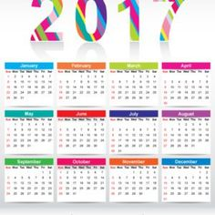 Colorful 2017 Calendar Printable Template #freevectors