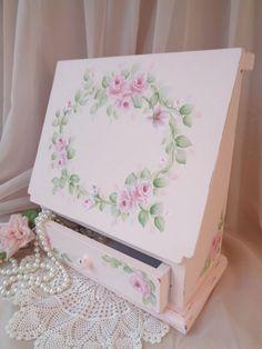 GORGEOUS WRITING CRAFT BOX hp rose chic shabby vintage cottage hand painted pink #VintageChic #SHABBYCHIC