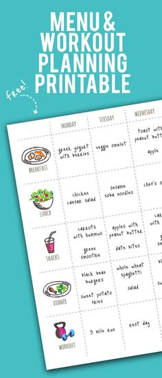 Healthy Living This free printable exercise and menu planner is a great way to keep your healthy lifestyle organized. - This free printable exercise and menu planner is a great way to keep your healthy lifestyle organized. Diet Plans To Lose Weight, Weight Loss Plans, Weight Loss Tips, Losing Weight, Weight Gain, Weight Loss Binder, Weight Loss Menu, Loose Weight, How To Lose Weight Fast