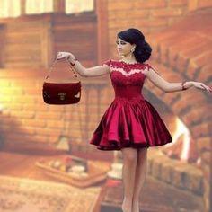 Modelo de Vestido de formatura curto vermelho na Promoção