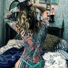 #tattoos #tattooed girls #back tattoo
