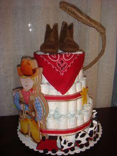 diaper cake, western | Western Diaper Cake! Cowboy Baby Shower, Baby Boy Shower, Baby Showers, Baby Shower Gifts, Baby Shower Cakes, Baby Shower Themes, Baby Shower Decorations, Shower Ideas, Cowboy Theme