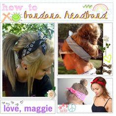 Headband bandanas hair-tutorials for hot summer days Bandana Hairstyles, Pretty Hairstyles, Hairstyle Ideas, Wedding Hairstyles, Bandana Hair Tutorials, Bandana Headbands, Bandana Girl, Bandana Bow, Hippie Style