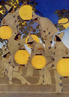 Maxfield Parrish - The Lantern Bearers   Maxfield Parrish was an American painter and illustrator active in the first half of the twentieth century. He is known for his distinctive saturated hues and idealized neo-classical imagery.
