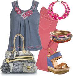 """Denim de colores"" by outfits-de-moda2 ❤ liked on Polyvore"