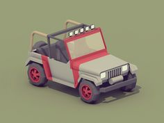 Jurassic Park Jeep [low poly] by Andrew Millen