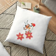 'I love Flowers' Floor Pillow by Floor Pillows, Throw Pillows, Scatter Cushions, Love Flowers, Pattern Design, Floral Design, Art Prints, Printed, Awesome