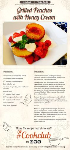 #CookClub recipe No. 22: Grilled Peaches with Honey Cream