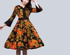 Streamer   Vintage flower linen dress 0005 by xiaolizi on Etsy,