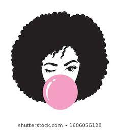 Free Black Girls, Black Women, Afro Hair Illustration, Afro Hair Drawing, Blowing Bubble Gum, Diy Mug Designs, Diy Wine Glasses, Natural Hair Art, Mini Paintings