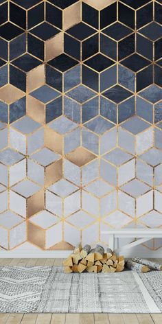 Soft Blue Gradient Cubes wall mural from happywall wallpaper modern wallpapers wallmural geometric happywall mural wallmurals 842454674019783274 Kitchen Wallpaper, Modern Wallpaper, Wall Wallpaper, Geometric Wallpaper Room, Gold Wallpaper Bathroom, Wallpaper Designs For Walls, Geometric Wall Paint, Office Wallpaper, Soft Wallpaper