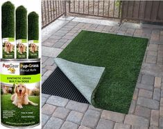 Dogs Pup‐Grass® Synthetic Grass Built for Dogs - Pre-Cut Rolls - from PupGear Corporation Lifestyle Products Approved By Dogs Outdoor Dog Area, Backyard Dog Area, Dog Friendly Backyard, Backyard Ideas, Fake Grass For Dogs, Artificial Grass For Dogs, Artificial Plants, Dog Yard, Dog Run Side Yard