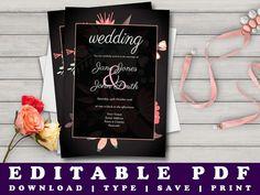 Floral Print Wedding Invitation Template, Printable Wedding Invites  #diywedding #printableinvites #floral #prandski