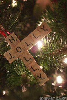 DIY Scrabble Tile Ornament by Oopsie Daisy - 30 Incredible Dollar Store DIY Christmas Decor Ideas. Dollar Tree Christmas, Christmas On A Budget, Christmas Wood, Christmas Crafts For Kids, Xmas Crafts, Christmas Projects, Christmas Ornament, Navidad Simple, Navidad Diy
