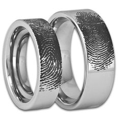 Custom Engraved Pipe Cut Tungsten Fingerprint Rings His and Hers Matching Wedding Bands Personalized Flat Style Couples Custom Engraved Pipe Cut Tungsten by RogueRiverJewelryCouples Custom Engraved Pipe Cut Tungsten by RogueRiverJewelry Matching Wedding Rings, Wedding Matches, Fingerprint Ring, Fingerprint Wedding, Friendship Rings, Ring Pictures, Couple Rings, Engraved Rings, Engraved Jewelry