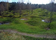 A Verdun battlefield that still bears the scars of shell impact craters, photographed in 2005.