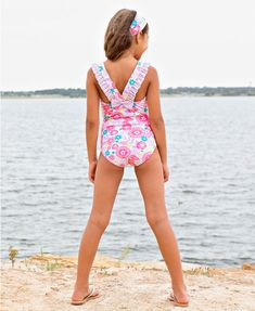 40c23f2473fb2 And the lilac trend continues into swim! This Blooming Buttercups Ruffle  Strap One Piece swimsuit