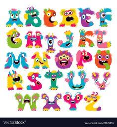 Cartoon children cute and funny monster alphabet Vector Image