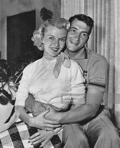 Fifties | Dean Martin at home with his wife Jeanne Biegger between takes for his film Jumping Jacks, 1952