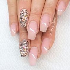 Light pink and gemstone coffin nails