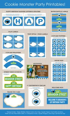 Cookie Monster Birthday Invitation Party Package  by Honeyprint, $35.00