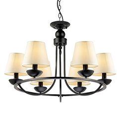 LNC Matte Black Iron 6-light Chandeliers White Pendant Light Shade(Bulbs not Included) LNC http://www.amazon.com/dp/B00URJHESU/ref=cm_sw_r_pi_dp_AK1Gwb1HCVYW8