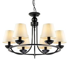LNC Matte Black Iron 6-light Chandeliers White Pendant Light Shade(Bulbs not Included) LNC http://www.amazon.com/dp/B00URJHESU/ref=cm_sw_r_pi_dp_AK1Gwb1HCVYW8