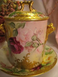 Painted Porcelain, Hand Painted, Victorian Art, Condensed Milk, Tea Sets, Ruby Lane, Vases, Vintage Antiques, Florals