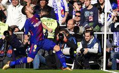 "Barcelona's Uruguayan forward Luis Suarez celebrates after scoring during the Spanish League ""Clasico"" football match Real Madrid CF vs FC Barcelona at the Santiago Bernabeu stadium in Madrid on December 23, 2017.  / AFP PHOTO / JAVIER SORIANO"