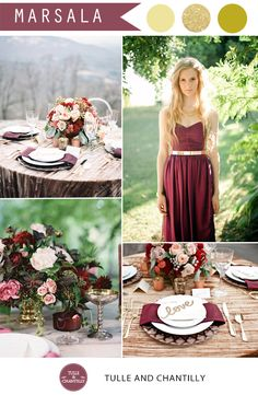 wedding color ideas - sparkling gold and marsala wedding color ideas for fall wedding 2015