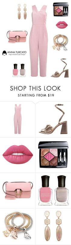 """""""The pink jumpsuit"""" by annaturcato ❤ liked on Polyvore featuring Lime Crime, Christian Dior and Deborah Lippmann"""