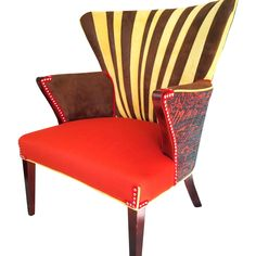 vintage midcentury wingback chair done funky by boltonk on etsy