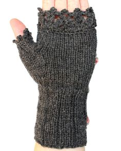 Knitted Fingerless Gloves Roses Grey by nbGlovesAndMittens on Etsy