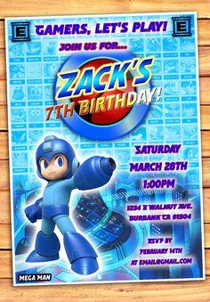 Mega Man Megaman Mega Man Birthday Invitation by MonsterDigitals