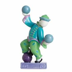 Jean Boggio Baby Circus Chi Chi Boy with Balls Figurine (Blue). Biggs Ltd. Gallery. Heirloom Quality Bridal and home decor. 1-800-362-0677. $285.