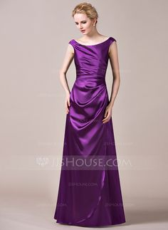 A-Line/Princess Off-the-Shoulder Floor-Length Charmeuse Bridesmaid Dress With Ruffle (007050049)