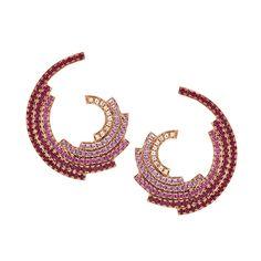 Ruby & Sapphire Earrings 18K Gold Fine Jewelry Galaxy RUIFIER | RUIFIER Jewelry