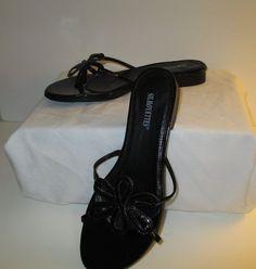 "Silhouettes Strappy Daisy slide Sandal 1/4"" heel 8WW in Black MSRP $49 #Silhouettes #StrappySlidesw14heel"