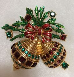 CHRISTOPHER RADKO Ornaments & Holly CHRISTMAS Pin Brooch Large Figural PRISTINE #ChristopherRadko