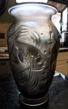 c.1930s Art Deco Sabino Lalique Style molded fish vase ~ 9 inches tall! ~ wildlife theme by KatsVintageTreasures on Etsy