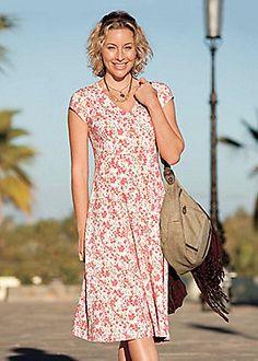 Long modest below the knee midi summer dress with sleeves from Sahalie. (2 more print varieties)
