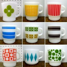 vintage fire king mugs- I like the idea of the same cup with different designs for a cabin/lake house