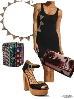 Sexy boho is easy to pull off in a little black dress. You can't go wrong with the right accessories! #looksima #bohofashion