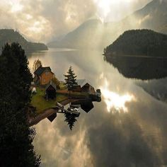 """Telemark, Norway .... This is such a hauntingly beautiful photo of Telemark that I just had to include it. It may be taken along the canal that goes from Skien to Dalen - perhaps! There was no label other than """"Telemark, Norway"""" when I found it in Pinterest."""