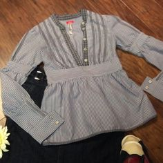 FREE PEOPLE BLOUSE This is a very gently loved free people half button blouse with peasant style sleeves, lace trim and a mixture of stripes and plaid.. Very cute. T-1 Free People Tops Blouses