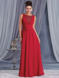 Alfred Angelo Style 9035: chiffon, soft net and re-embroidered lace special occasion dress with decorated yoke