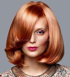 női frizurák félhosszú hajból - világos rézvörös bubifrizura